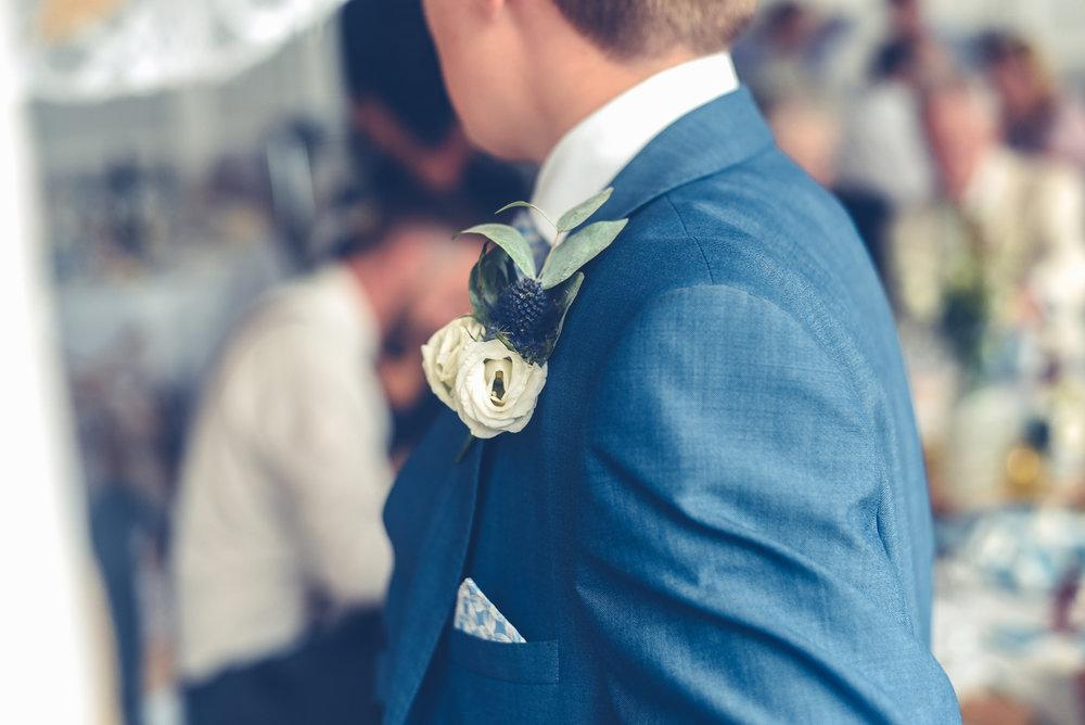 Wedding suit detail blue