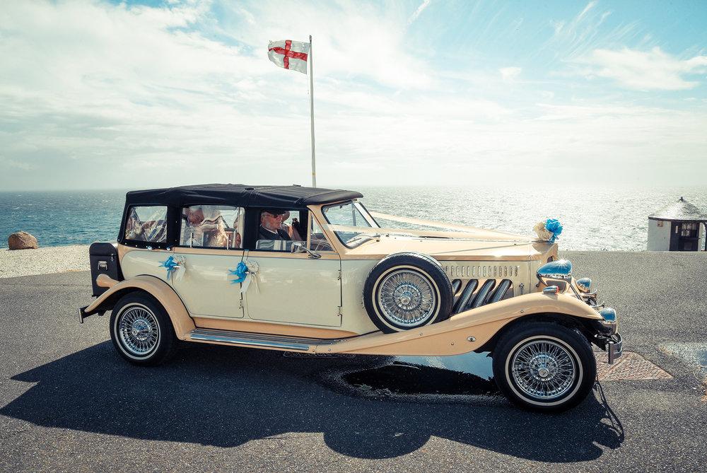wedding couple car coast Cornwall