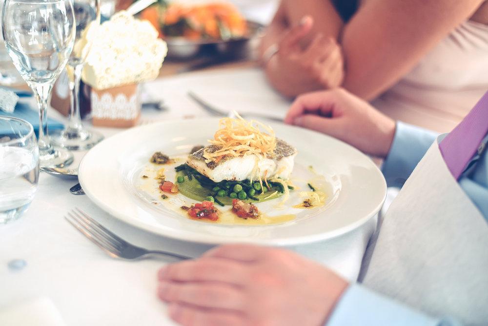 Wedding meal fish table setting