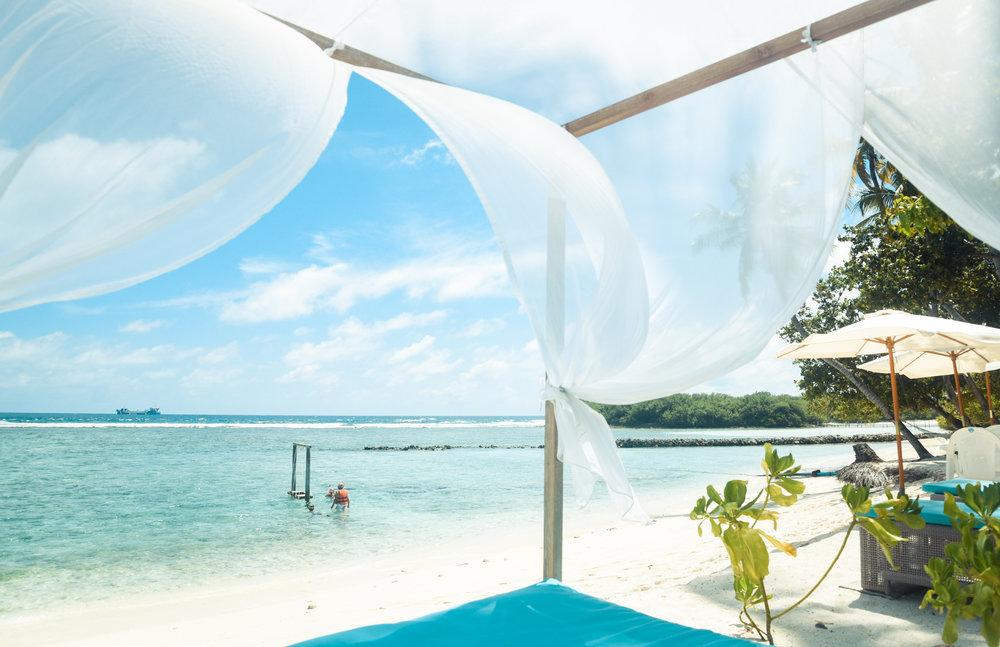Maldives luxury resort cabana