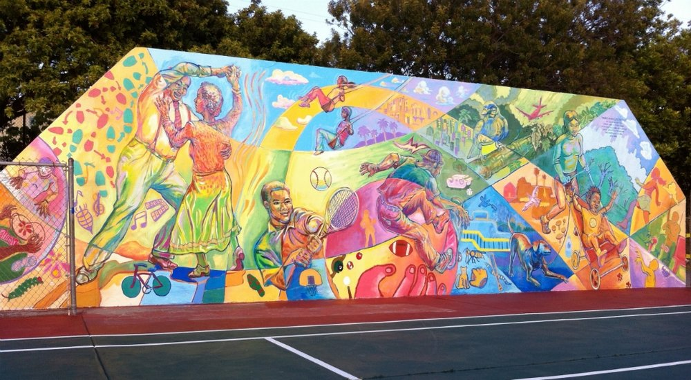An Ode To my City:Inglewood, A City of Champions with a heart full of Gold - This mural is located at Darby Park and it's one my favorite backdrops for a good workout.