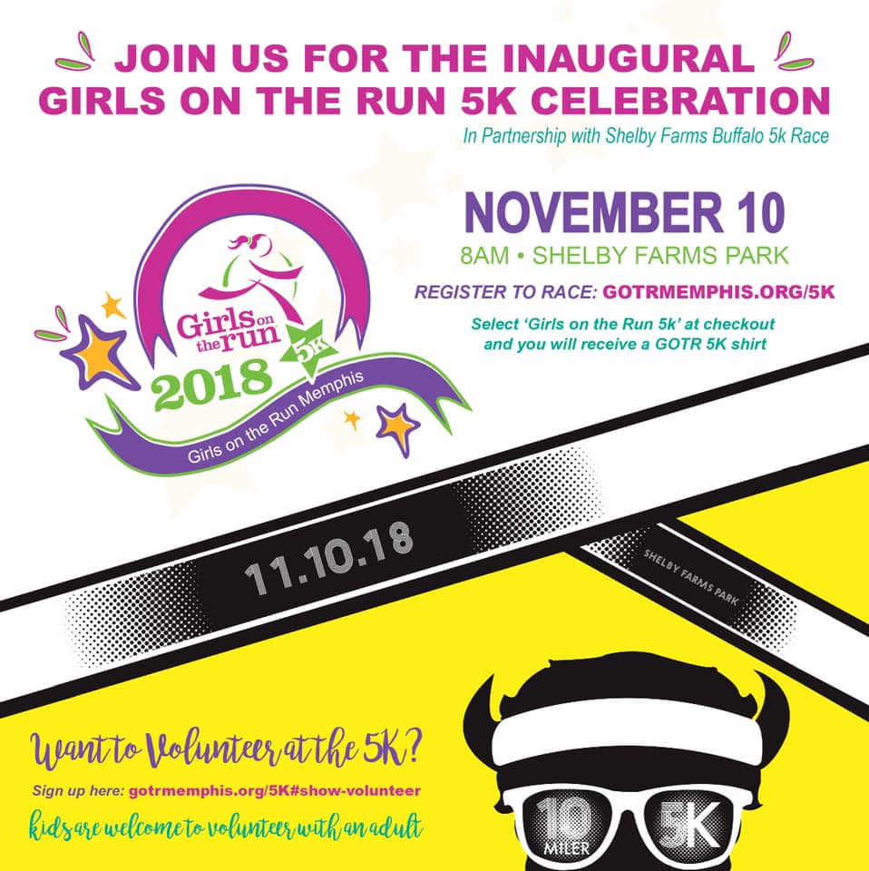 Memphis Peeps: The inaugural GOTR Memphis 5K is just a few weeks away. It's not too late to volunteer and you don't have to be a runner to show your support. Hold signs along the trail to keep our girls motivated, hand out water at a water station, help paint faces, or lead an activity at our arts and crafts station. Check out more information at gotrmemphis.com/5k.    LA Peeps: The GOTRLA 5K is also right around the corner on December 1. Get your running shoes, smiles, or cheers ready. Help paint faces, run the arts-and-crafts station, or just come dressed up to cheer on these remarkable young girls. Check out more information at gotrla.org/5K-Detail!