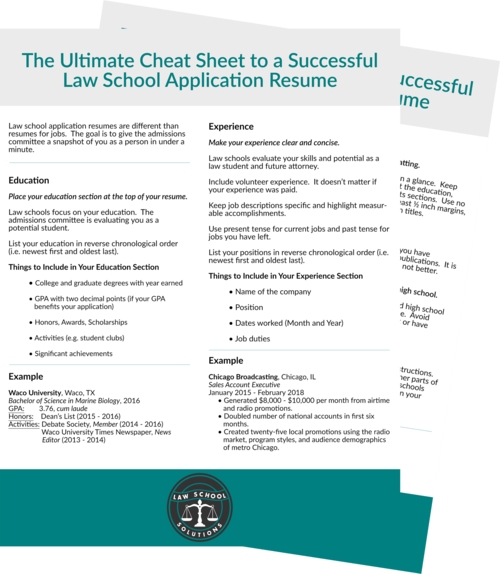 law school application resume cheat sheet