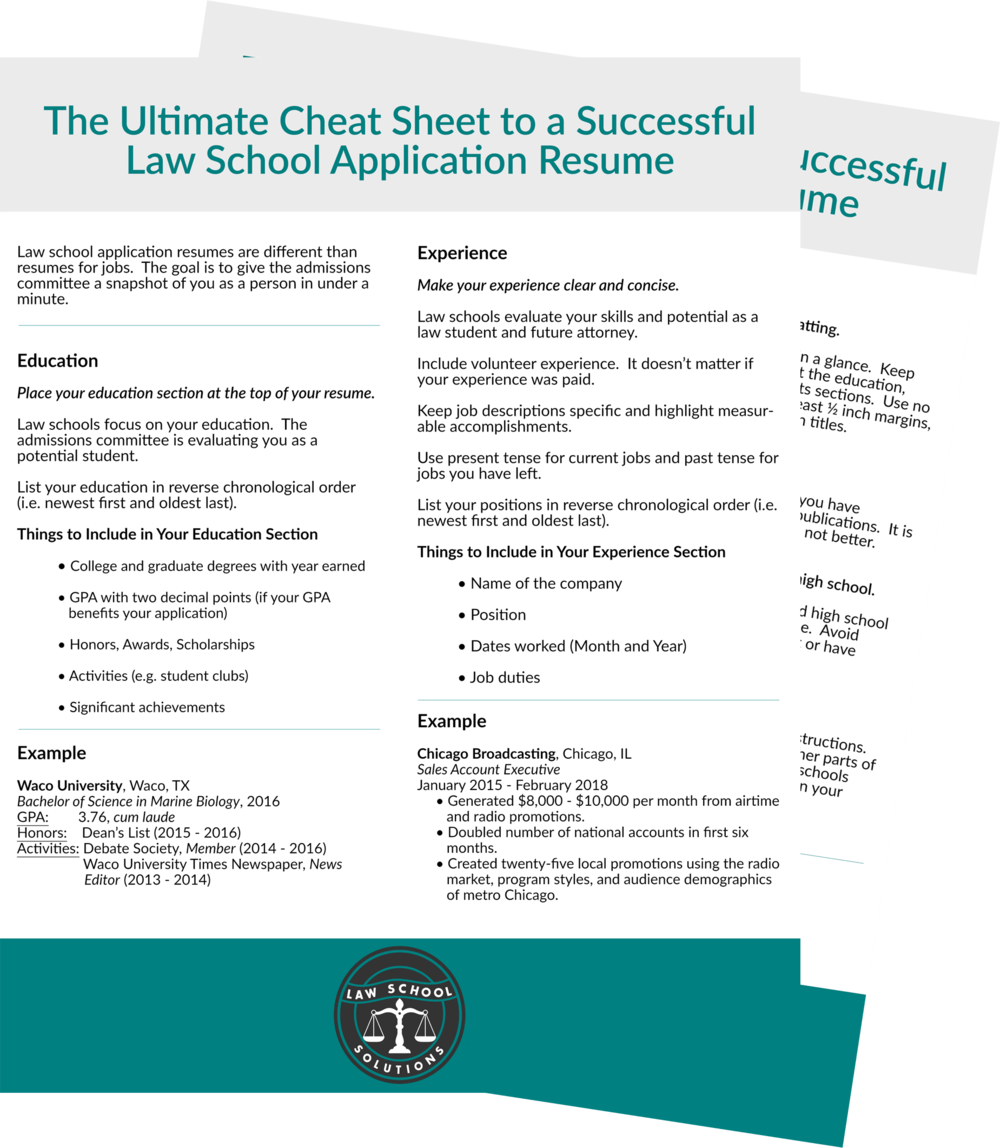 Law School Application Resume Cheat Sheet