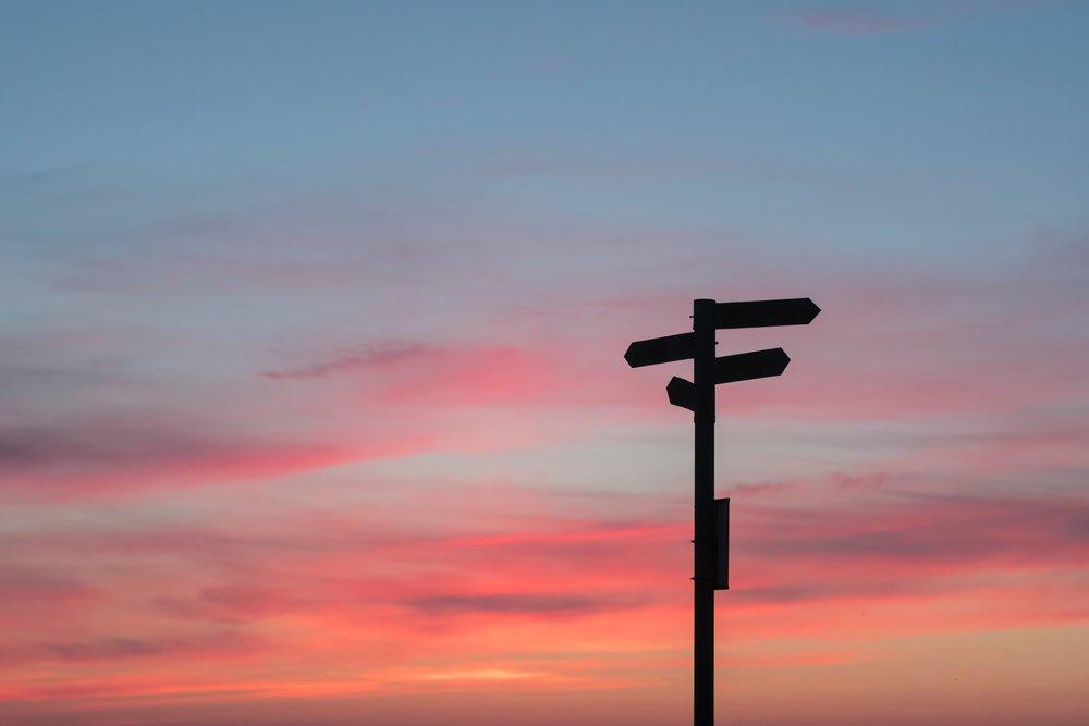 crossroads at sunset