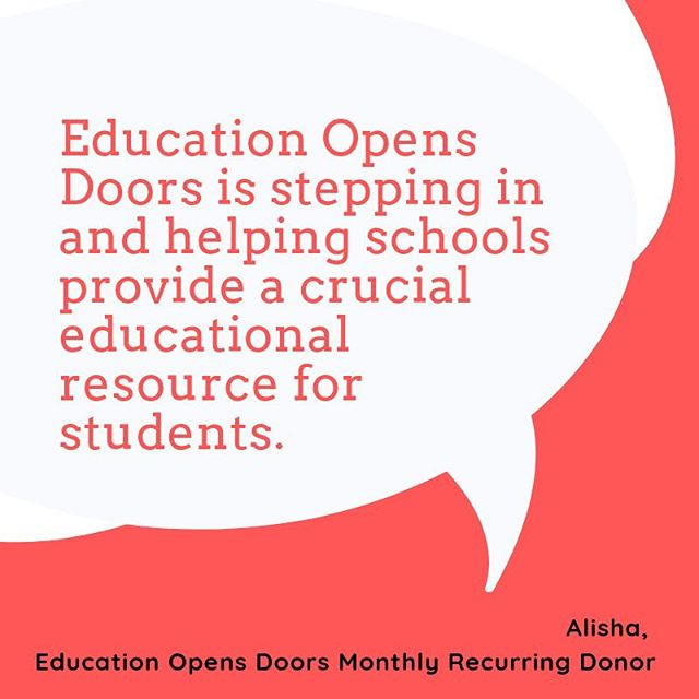 "Believe it or not, we're over halfway through the month and our friends at @educationopensdoors are still wholeheartedly dedicated to meeting their goal to enhance programming for 30 students in the #newyear. Curious about the impact your donation makes? Hear from one of their existing recurring donors, Alisha... • • ""Education Opens Doors is stepping in and helping schools provide a crucial educational resource for students. I feel it's incredibly important that all students know they have access to resources to pursue their college education. No student should decide not to go to college because they believe it's unattainable. It's attainable for all and EOD plays an important role for students in pursuing their dream of going to college."" • • For more info on the impact your #donation makes + how you can contribute this #holidayseason, click our #linkinbio!"