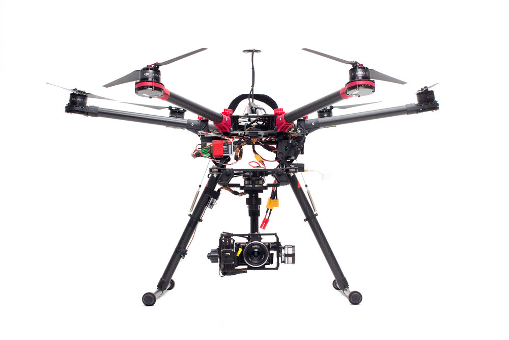 Semi-heavy class - Mid range drones suitable for many smaller cameras like SONY A7S series and similar. These drones are also used for aerial lighting solutions.