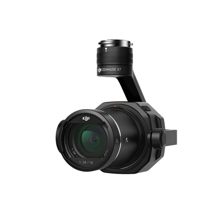 DJI X7* - *Temporarily unavailable. Super-35 sensor. CinemaDNG and Apple ProRes codecs, up to 6K resolution. Flight time w/ lens + follow focus: 20-25min.