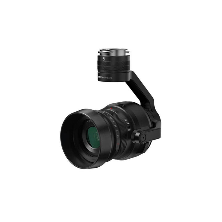 DJI X5S - MFT Sensor. CinemaDNG and Apple ProRes codecs. Up to 5.2K resolution. Flight time w/ lens + follow focus: 23-27min.
