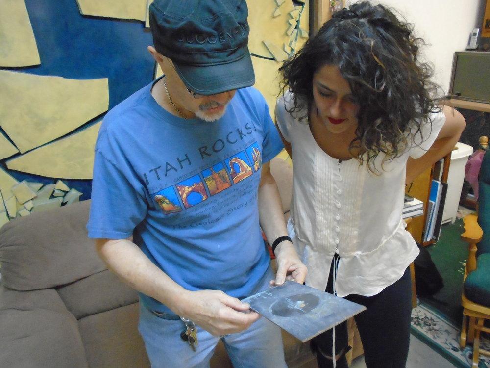Discussing artwork