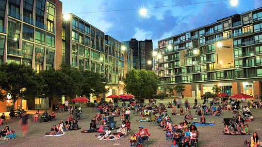 A. Central plaza - A central plaza is considered an important element next to the stadium so that pre and post-game events can be held. It is intended to be part of the everyday life of the neighbourhood.