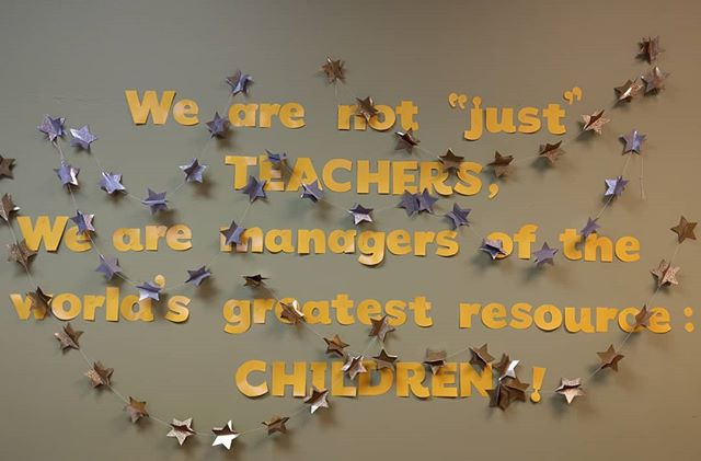 """Visited with some Little Rock School District educators this week, and this display in the staff lounge at Baseline Academy was one of the highlights: """"We are not 'just' teachers. We are managers of the world's greatest resource: CHILDREN!"""""""