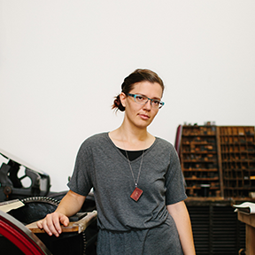Sarah Mo  Founder of Editions, the coworking space for book artists and printmakers in Georgtown, and the Book Arts Evangelist  Sarah fell in love with book arts and printmaking when she lived in New York City and discovered The Center for Book Arts. Her own artist books reflect her experiences, her beliefs and her doubts. She is always learning and strives to learn something new with each piece she produces.