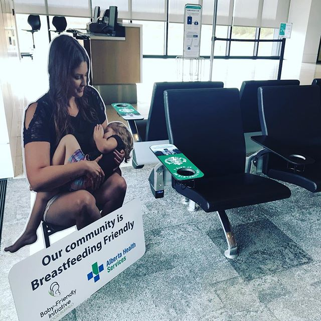 Breastfeeding in public, anytime, anywhere, including at the Fort McMurray International Airport (YMM). Working with the Baby-Friendly Initiative Wood Buffalo and Alberta Health Services, we have several of their life sized cutouts around the terminal promoting breastfeeding 🤱 as a normal part of life. #YMM #YMMairport #FlyYMM #brestfeeding