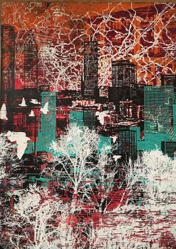 "Jenevieve Reid  ""Old Atlanta (red)"" | 18"" x 24"" x 3"" | $800"