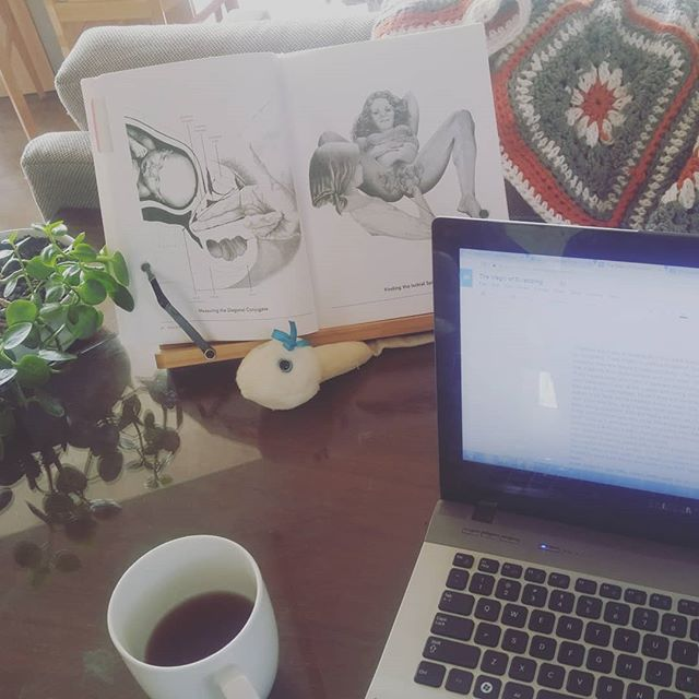 A midwifery student's desk. As I study and grow, I feel the wisdom of the women before me. I'm so greatful for the lay midwives who preserved birth options, and paved my way. #studentmidwife #spdoulas #SanDiego #futuremidwife #doula #oolong