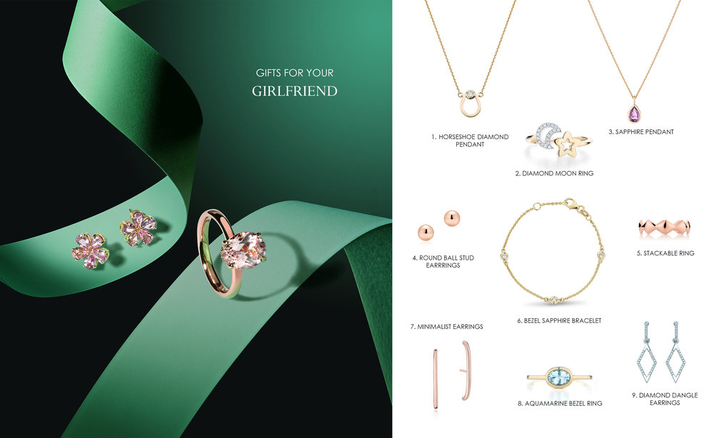 1.   Horseshoe Diamond Pendant   - CDN$ 1,233 2.  Diamond Moon Ring In Yellow Gold - CDN$ 980.00 3. Pink Sapphire Pendant  - CDN$ 1,295 4.  Round Ball Stud Earrings  - CDN$ 585 5.   Stackable Ring  - CDN$ 615.00 6.  Bezel Diamond Bracelet Yellow  - CDN$ 980 7.  Minimalist Earrings  - CDN$ 575 8.  Bezel Ring  - Starting at CDN$ 823.00 9. Diamond Dangle Earrings In White Gold  -CDN$ 1,880