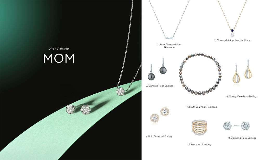1.  Bezel Diamond Row Necklace - CDN$ 1,265 2.  Diamond & Sapphire Necklace - CDN$ 1,930 3.  Dangling Pearl Earrings - CDN$ 1,280 4.  Halo Diamond Earrings - CDN$ 2,060 5.  Diamond Fan Ring  - CDN$ 3,700.00 6.  Montgolfiere Drop Earring  - CDN$ 2,205 7.  South Sea Pearl Necklace - By Quote 8.  Diamond Floral Earring -CDN$ 2,295