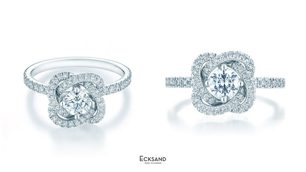 MULTI-ANGEL VIEW OF ECKSAND TWIST DIAMOND FLORAL ENGAGEMENT RING