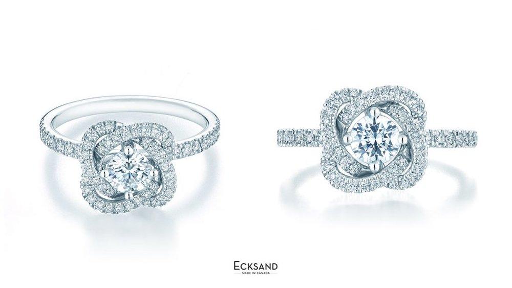 MULTI-ANGEL VIEW OF ECKSAND TWIST DIAMOND FLORAL ENGAGEMENT RING
