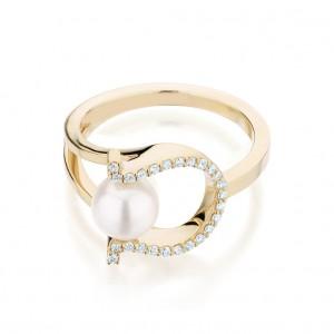 Ecksand Pearl And Diamond Horseshoe Ring