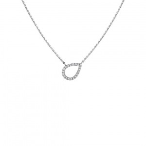 Ecksand Teardrop Necklace With Diamonds In White Gold