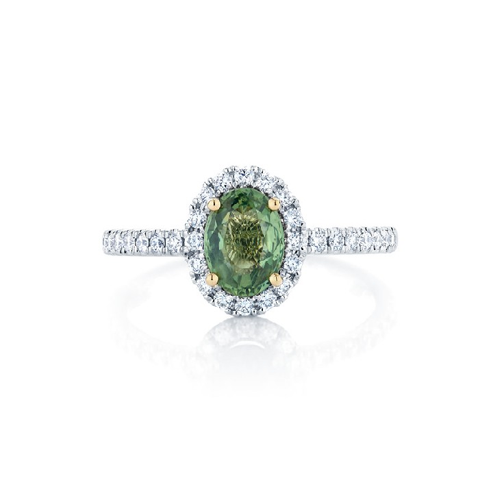 Green Sapphire Oval Halo Ring