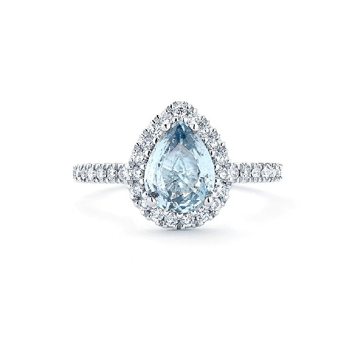 LIGHT BLUE PEAR DIAMOND HALO