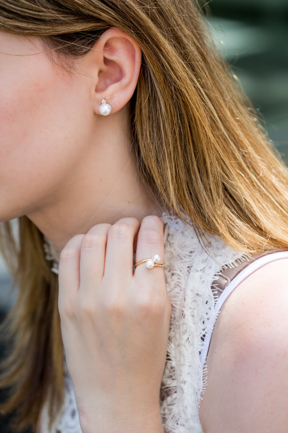Double Pearl ring 2113 and Pearl Diamond Earrings JenChurchLifestyles-4758.JPG