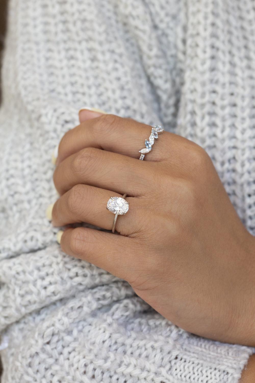 Oval Cut Diamond on Hand