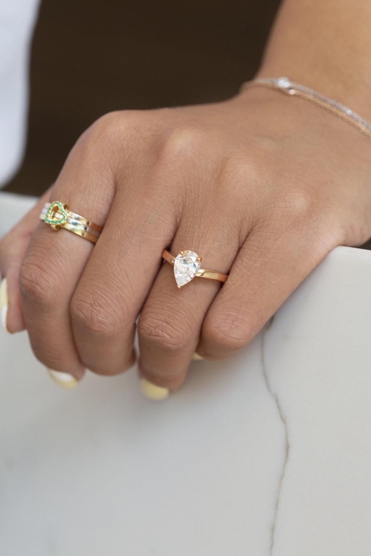 Pear Cut Diamond on Hand