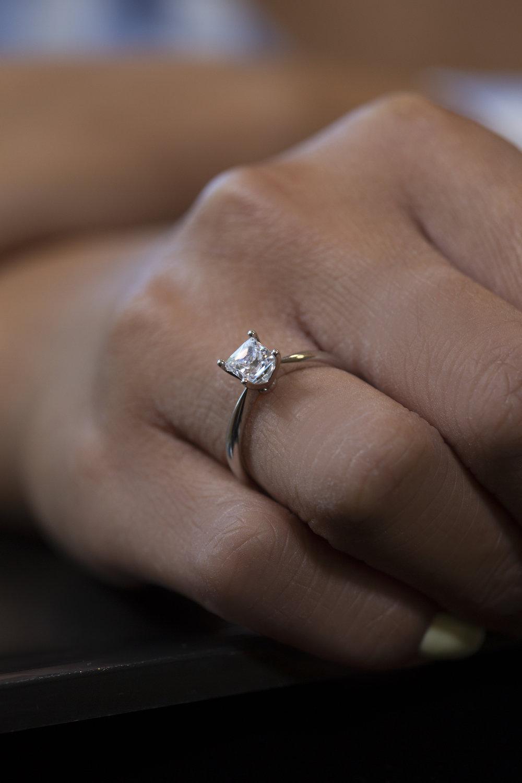 Princess Cut Diamond on Hand