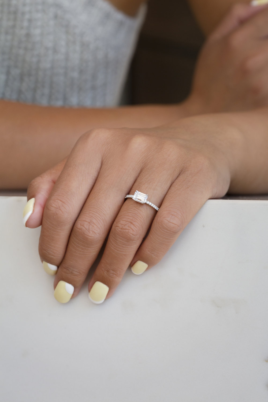 Emerald Cut Diamond on Hand
