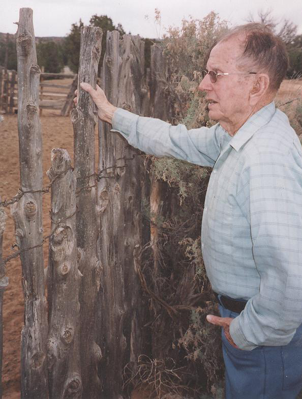 Hobart Feltner, born 1916 in Kentucky went to Henrieville to work for the CCCs, then later married and lived in Cannonville until he passed away in 2013. Here, Hobart stands beside a CCC corral he helped construct in the 30s out on the Cottonwood Road in Garfield County.