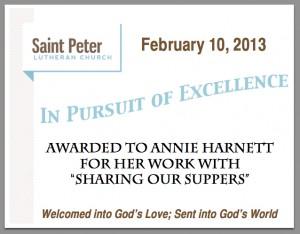 Excellence Award Harnett