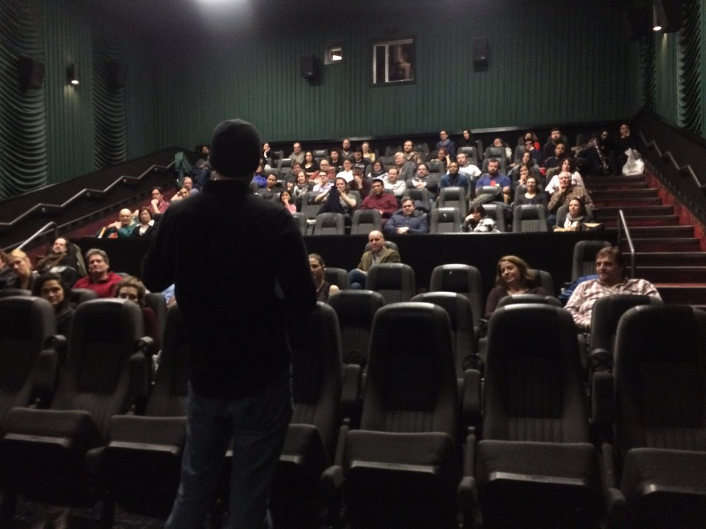 Screenwriter-Producer Paden Fallis answers questions from the audience in Brooklyn.
