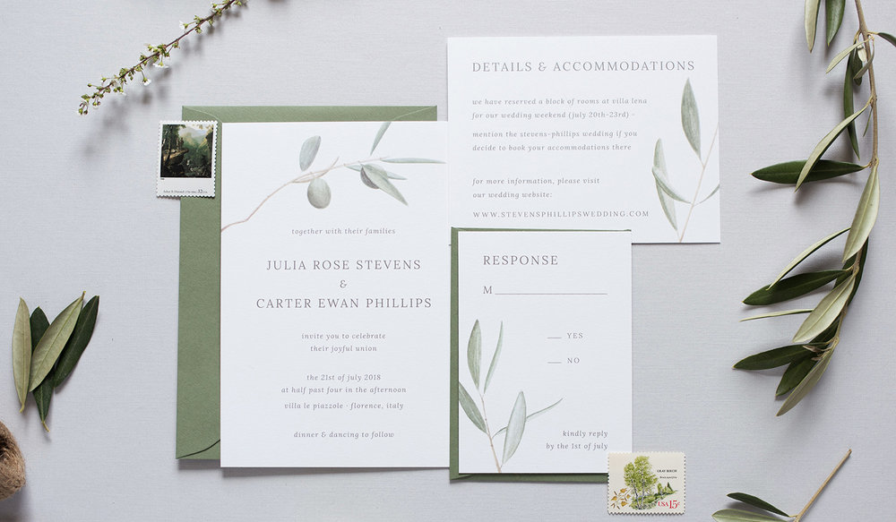 amy zhang creative   semi-custom wedding invitation suite   florence olive branch invitation suite   photo by jenna wren photography