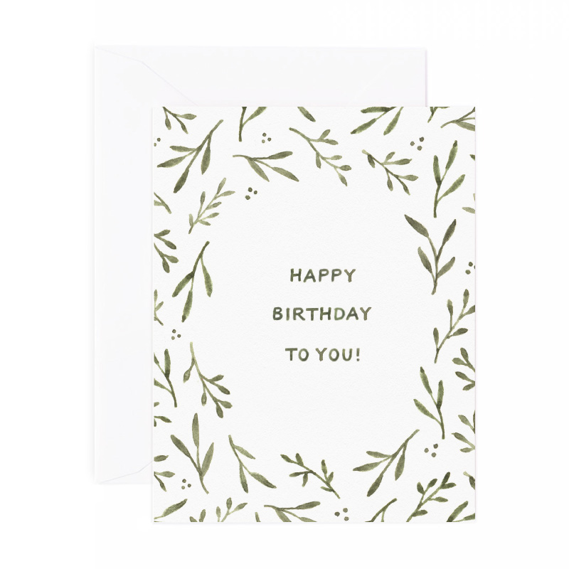 Greenery Border Birthday Card