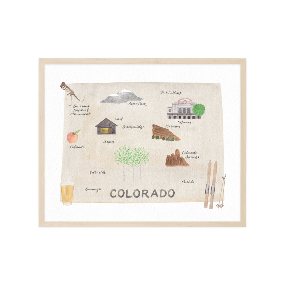 Colorado Map Art.Illustrated Colorado Map Print Amy Zhang Creative Illustrated