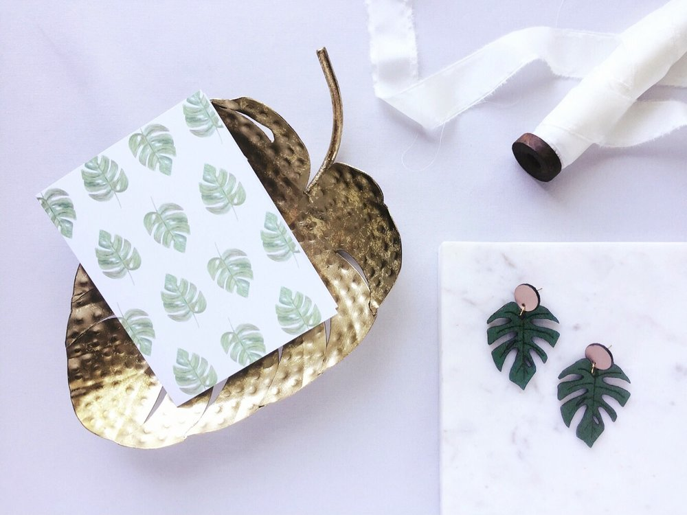 amy zhang creative | monstera leaf card | everyday greeting card | flat lay styling | stitch and shutter monstera leaf earrings