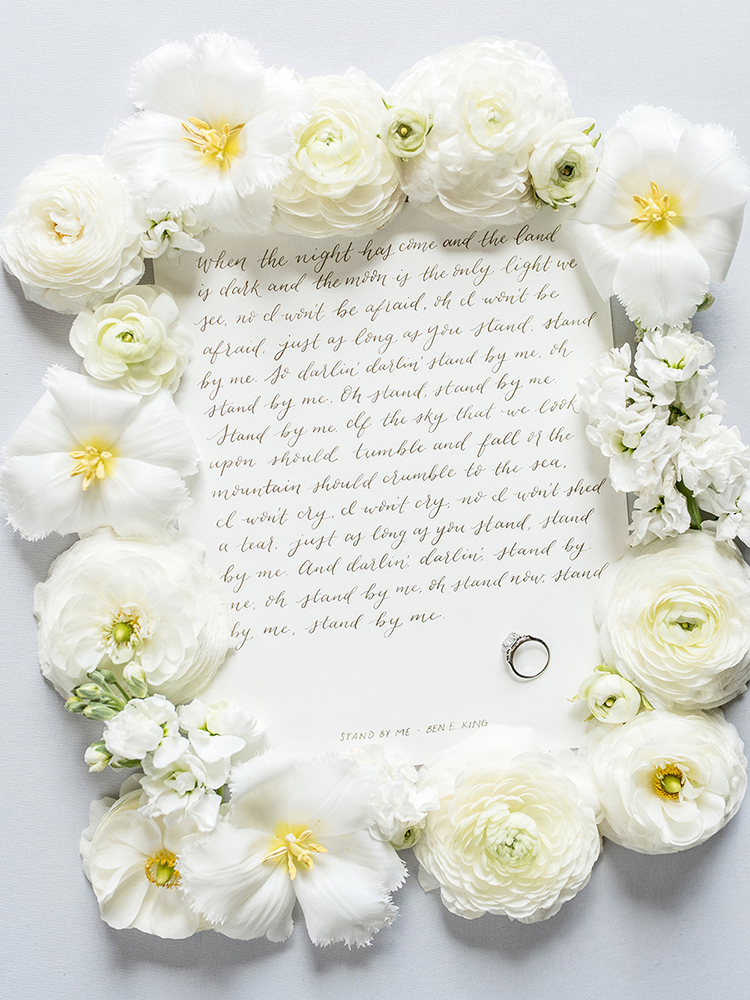 amy zhang creative | custom calligraphy vows and song lyrics | wedding calligraphy and lettering inspiration | wedding styling inspiration