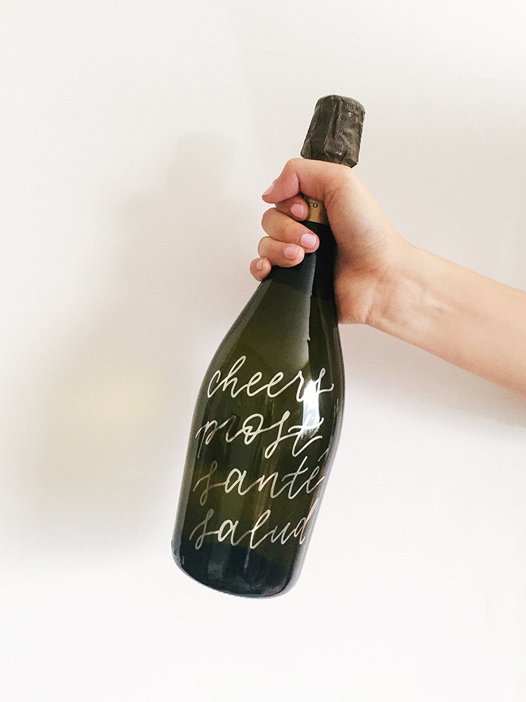 amy zhang creative | custom champagne bottle | custom wedding calligraphy and lettering | bridal shower inspiration | day-of wedding details