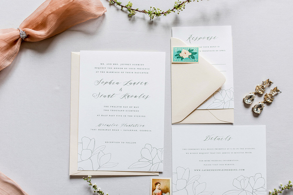 amy zhang creative | semi-custom invitations inspired by savannah | classic wedding stationery | southern wedding | classic wedding inspiration