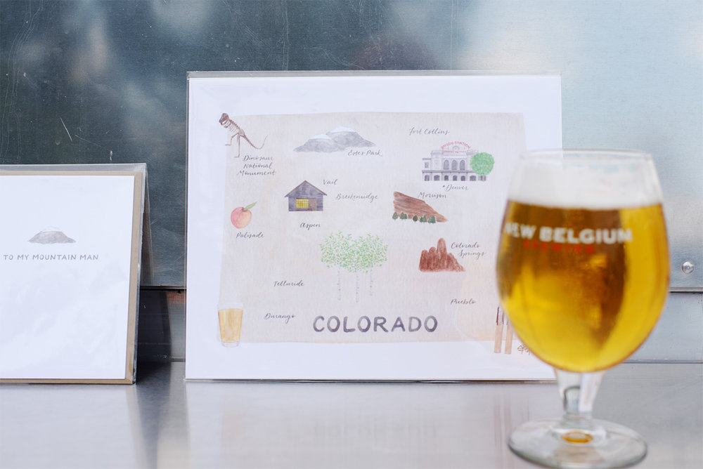 amy zhang creative | new belgium makers market | illustrated colorado map | illustrated greeting cards