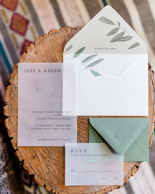 amy zhang creative | custom wedding stationery design | vellum invitation suite | wedding envelope liner design