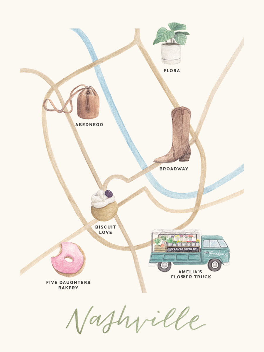amy zhang creative | illustrated map | nashville city guide | what to do in nashville | nashville editorial illsutration