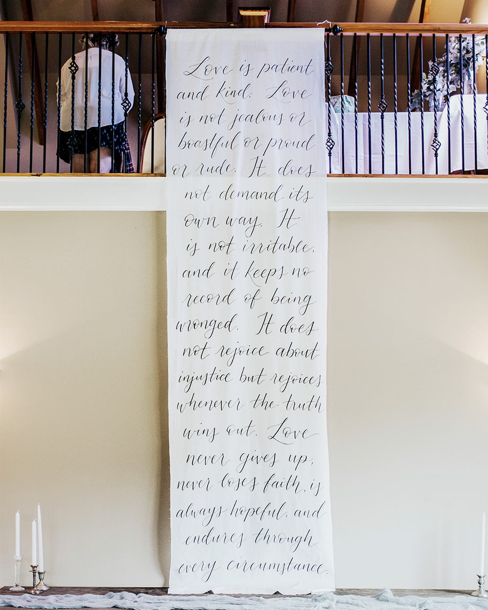 amy zhang creative | wedding calligraphy fabric banner