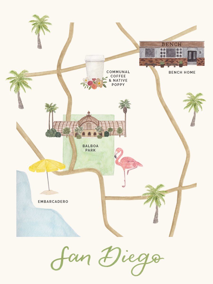 amy zhang creative | san diego map illustration | san diego city guide