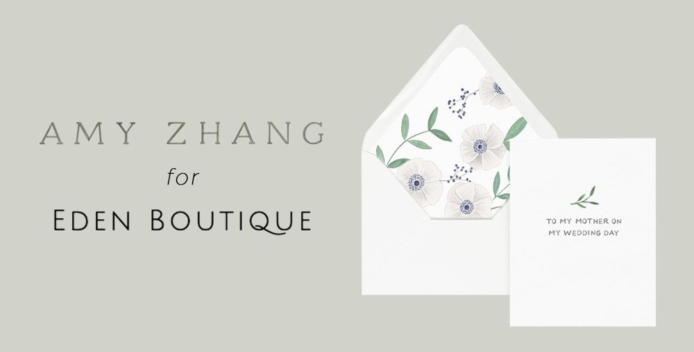 amy zhang creative for eden boutique | custom wedding day greeting cards
