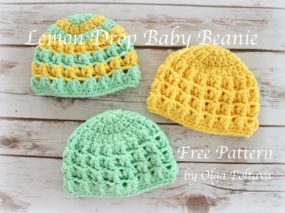 Lemon Drop Baby Beanie Free Crochet Pattern Olga Poltava